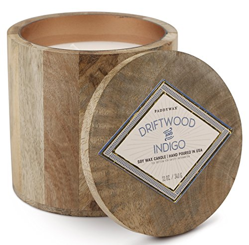 Paddywax Woods Collection Scented Soy Wax Candle in Mango Wood, 12-Ounce, Driftwood & Indigo