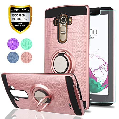 """LG G4 Case, LG G4 Phone Cases with HD Phone Screen Protector,YmhxcY 360 Degree Rotating Ring & Bracket Dual Layer Resistant Back Cover for LG G4 (5.5"""" inch) 2015 Release-ZH Rose Gold"""