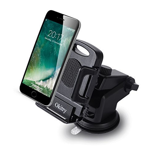 Okitry Car Phone Mount, Washable Strong Sticky Gel Pad for Windshield and Dashboard, Car Phone Holder with Release Button for iPhone 7 Plus 6s 6 Plus, Samsung Galaxy S8 Edge S7 S6 Note 5, Nexus, Black