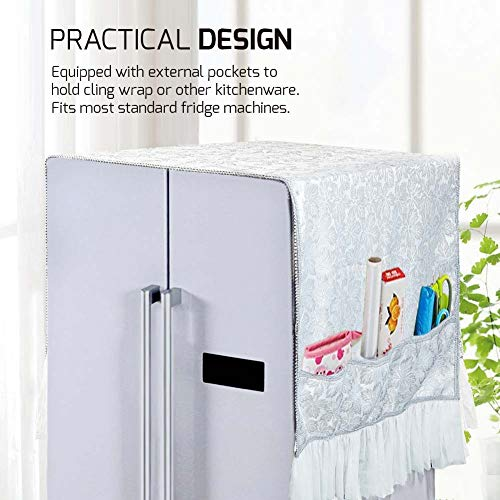 ZNYSMART Fridge Caddy Kitchen Refrigerator Storage Organizer Bag Dust Proof Cover Home Decor (32x79in For Double Door Bigger Fridge)