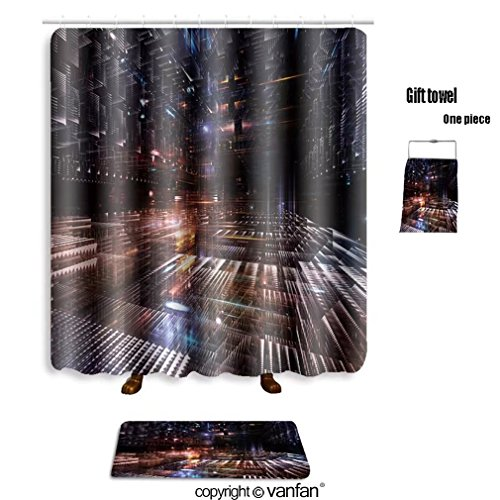 vanfan bath sets with Polyester rugs and shower curtain fractal city series arrangement of three dime shower curtains sets bathroom 69 x 84 inches&31.5 x 19.7 inches(Free 1 towel and 12 hooks)
