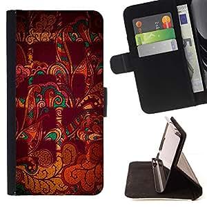 Momo Phone Case / Flip Funda de Cuero Case Cover - Resumen a cuadros marrón Indian Pattern - Samsung Galaxy J1 J100