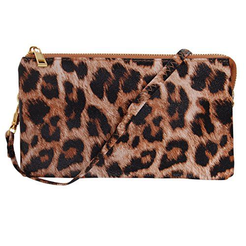 Humble Chic Vegan Leather Small Crossbody Bag or Wristlet Clutch Purse, Includes Adjustable Shoulder and Wrist Straps, Leopard, Brown, Black, Neutral