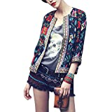 Buenos Ninos Women's 3/4 Sleeve Ethnic Embroidery Cardigan Retro Printed Flyaway Jacket Coat Black S