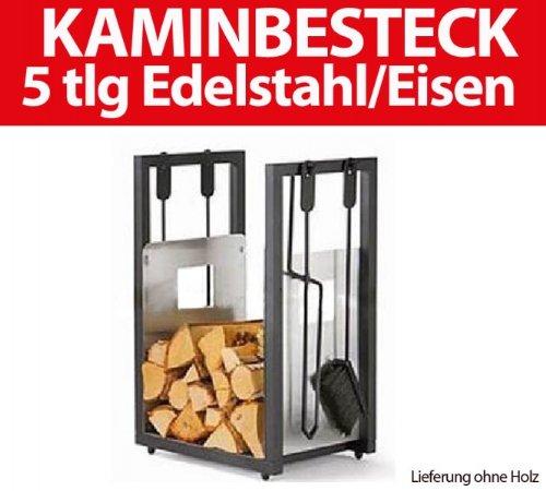 ToniTec Kaminholzwagen Kaminholzkorb Holzwagen Kaminkorb Brennholzwagen + Kaminbesteck Edelstahl