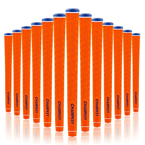 Champkey X-LITE Rubber Golf Grips Set of 13(Free 15 Tapes Included) - High Feedback Rubber Golf Club Grips Ideal for Clubs Wedges Drivers Irons Hybrids(Orange, Standard)