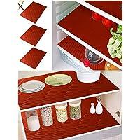 Kuber Industries PVC 6 Piece Refrigerator Drawer Place Mat Set - Red