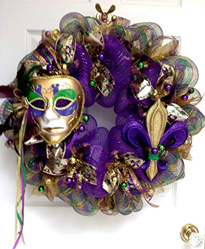 Mardi Gras Wreath Extra Large With Venetian Mask and Fleur De Lis Handmade Deco Mesh -