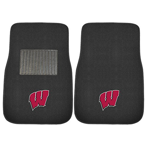 picture of FANMATS 17597 Wisconsin 2-Piece Embroidered Car Mat