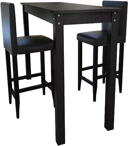 Vidaxl Legno Di Pino Set Tavolino Da Bar Con 2 Sgabelli Neri Tavolo E Sedie Amazon It Casa E Cucina