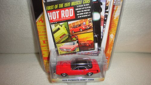 GREENLIGHT 1:64 SCALE HOT ROD MAGAZINE SERIES 2 RED AND BLACK 1970 PLYMOUTH HEMI CUDA DIE-CAST COLLECTIBLE 1970 Plymouth Hemi Cuda