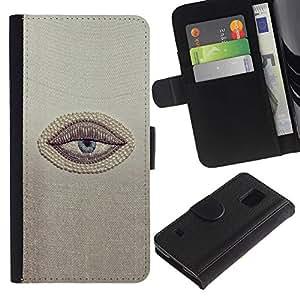 Paccase / Billetera de Cuero Caso del tirón Titular de la tarjeta Carcasa Funda para - Sleepy Lazy Tired Cynical Minimalist - Samsung Galaxy S5 V SM-G900