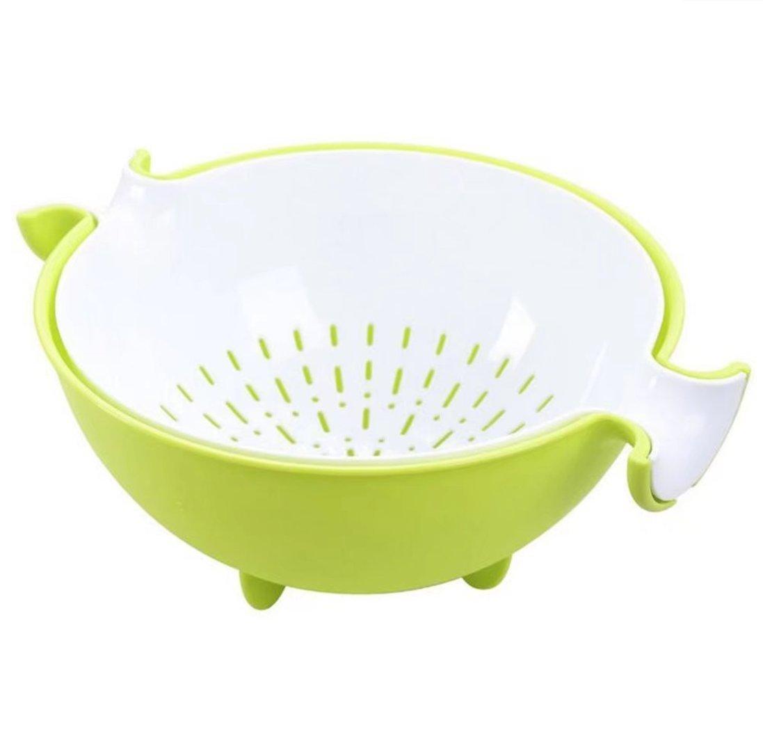 Dingsheng multifonctionnel rotatif de drainage Plastique Bonde /à panier Creative double couche Fruits Passoires de cuisine Pot plastique Panier de lavage Lavage Bol de fruits Green
