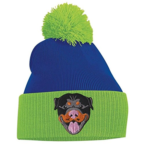 Lime Clothing Royal Pom Tidy Rottweiler Bang Blue and Pom Beanie Green wTqZxP5RnY