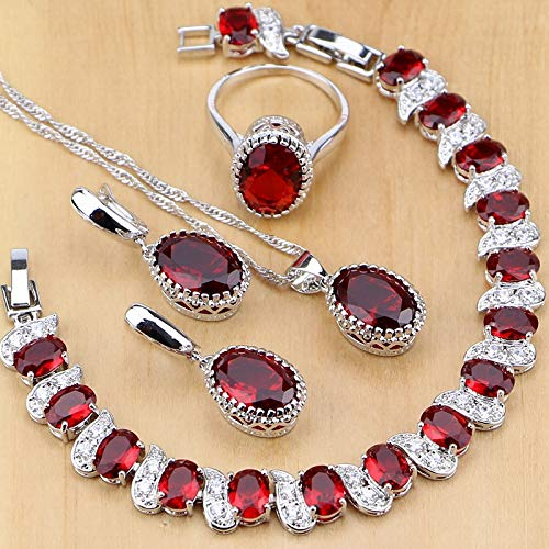 Natural 925 Sterling Silver Jewelry Red Birthstone Charm Jewelry Sets Women Earrings/Pendant/Necklace/Ring/Bracelets T055 Ring Size 8 ()