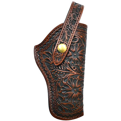 3D TAN HAND TOOLED FLORAL LEATHER RIGHT HAND REVOLVER HOLSTER (Tooled Leather Seat)