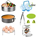 Instant Pot Accessories Set 8 Pcs- Fits 5,6,8Qt Instant pot Pressure Cooker- Steamer Basket,Non-stick Spring form Pan,Egg Bites Molds with Handles,Egg Steamer Rack,Kitchen Tongs,Free Recipes E-Book