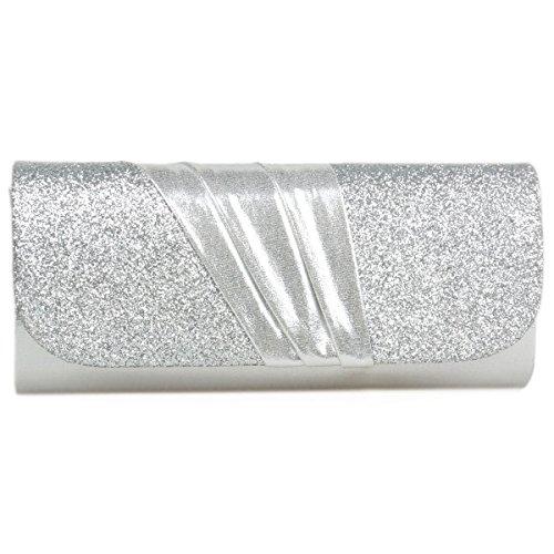 Silver Evening Women's Detail Pleated Glitter Splice Damara Bag qSw0ZHBB
