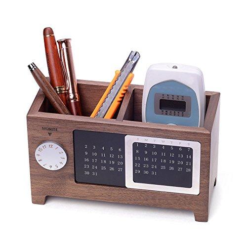 Artinova Wooden Pen Cup Office Supplies Desk Organizer Pen and Pencil Holder Stationery Storage Box with Calendar for The Desk ARTA-0006W