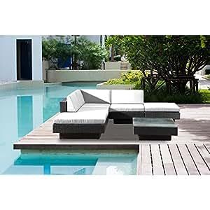 Concept-Usine Amorgos: salón de jardín de esquina (resina trenzada 4Hilos negra Poly Ratán