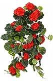Gerani pendenti decorativi ANTON su gambo artificiale, 130 foglie, rosso, 65 cm, Ø 35 cm - Composizione floreale / Gerani artificiali - artplants