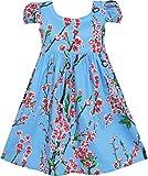 Sunny Fashion Girls' Dress Chinese Plum Flower Print Princess Blue