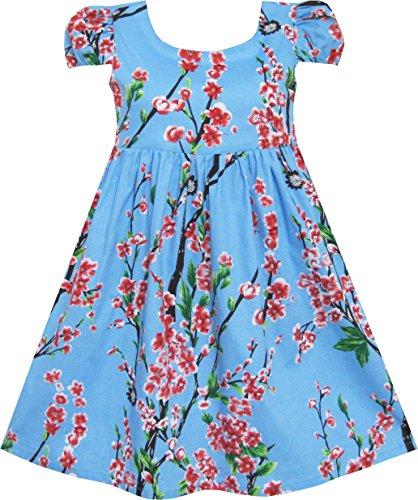 FR61 Girls Dress Chinese Plum Flower Print Princess Blue Size 3