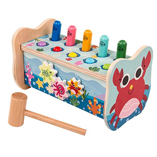 Glomixs Wooden Children Building Blocks, for Boys Girls Knock Game Toy, Multi-Function Learning, Active, Early Developmental Toy,Fun Gift for Age 3, 4, 5, 6 Years Old Kids, Boys, Girls