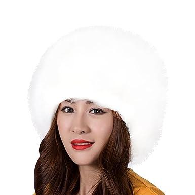 c8d51a81 SwirlColor Russian Style Faux Fur Winter Cap Warm Hat For Women - White:  Amazon.co.uk: Clothing