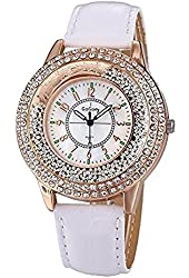 Gogoey Luxury Brand Women Quartz Analog Wristwatch Golden Band Roman Numerals Dial Watch White
