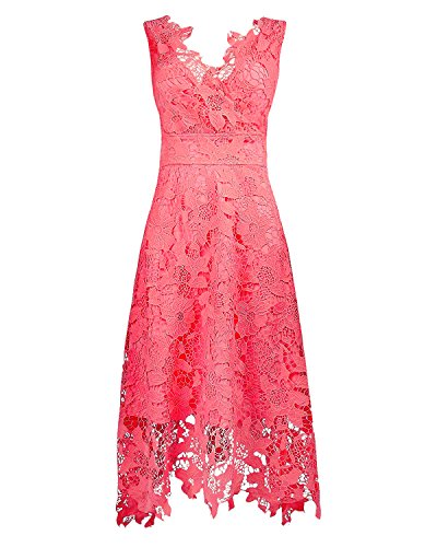 KIMILILY Women's V Neck Sleeveless Floral Lace Bridesmaid Homecoming Dresses(WR,S)