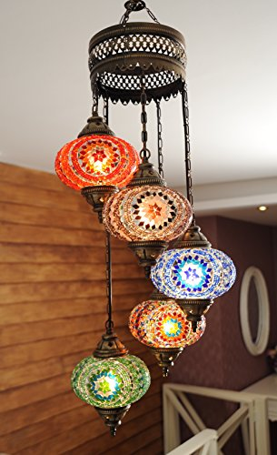 (Choose from 12 Designs) Turkish Moroccan Mosaic Glass Chandelier Lights Hanging Ceiling Lamps (XLarge-2)