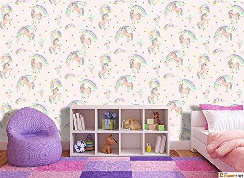 Rainbow Unicorn Glitter Wallpaper Rolls White Arthouse 696109 Girls