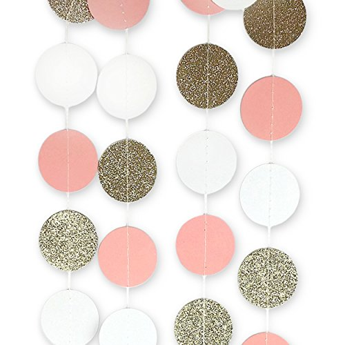 Circle-Dots-Paper-Garland-Pink-White-and-Gold-Glitter-Set-of-4-10-Feet-each-Total-40-feet