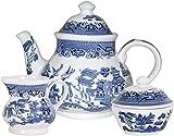 Churchill Blue Willow 3 Piece Set (Teapot, Creamer & Sugar)