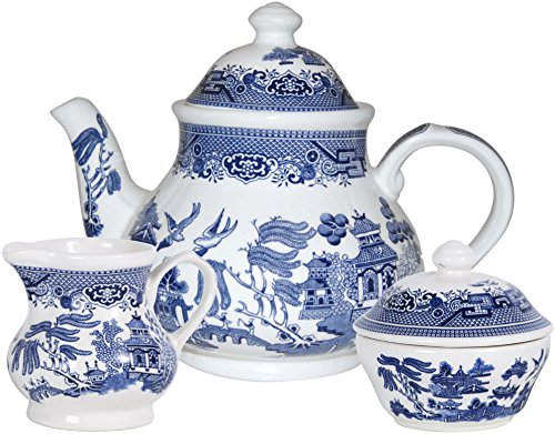 (Churchill Blue Willow 3 Piece Set (Teapot, Creamer & Sugar))