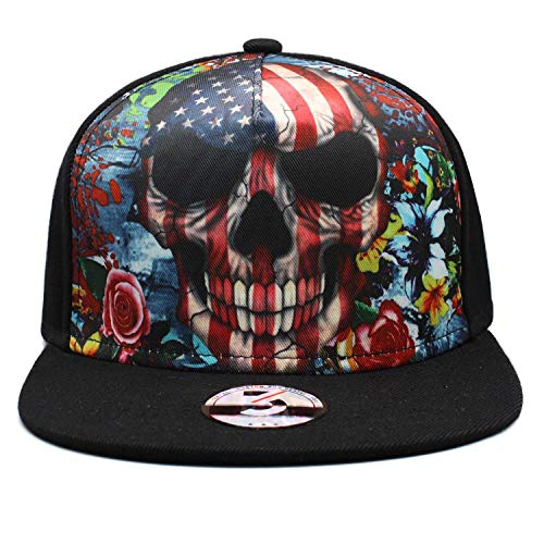 TT smemes Black American Skull Fitted Flat Brim Baseball Cap Snapback Men Women Trucker Hat