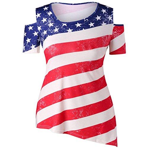 - TOPUNDER Women Casual Cold Shoulder Tops Patriotic American Flag Printed Blouse