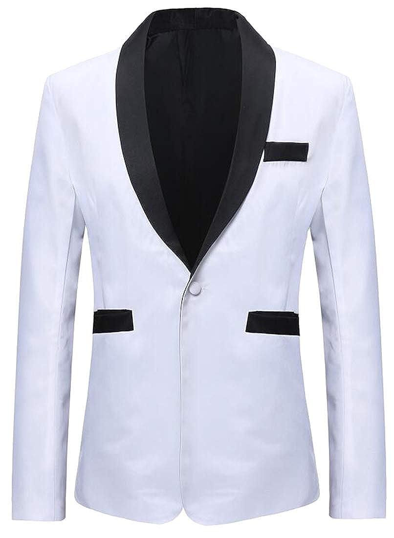 7ec597eed43 YYG Men s Regular Fit One Button Plus Size Casual Business Contrast Dress Blazer  Jacket Suit Coat at Amazon Men s Clothing store