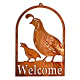 Cheap Elegant Garden Design Quail and Chick Roundtop Welcome, Rusty Patina