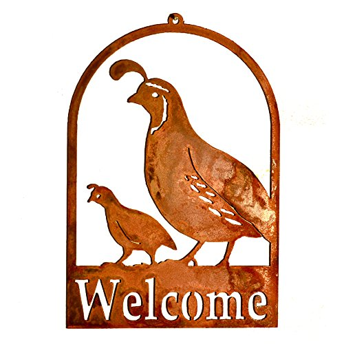 Elegant Garden Design Quail and Chick Roundtop Welcome,, used for sale  Delivered anywhere in USA