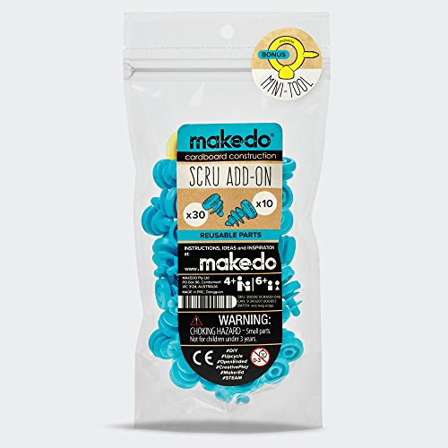 Makedo Cardboard Construction Tools Scru Add-On – Perfect for In-Classroom STEM Learning and At-Home Play – Includes 40 Reusable Makedo Scrus – Suitable for Children Age 4+