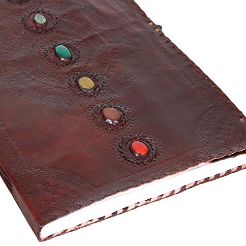 Seven Stone Leather Journal Handmade Notebook Unlined Blank 240 Pages 13 1/2 X 22 inches by  (Image #4)