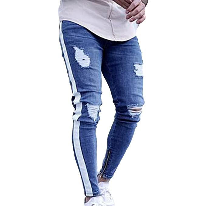 b6dfedb1d432fc Cremallera Hombres Pequeños Pies Flacos Jeans Male's Broken Hole Blue Side  White Strip/Pantalones Negros