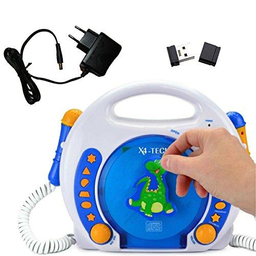 X4-TECH 701354 Kinder MP3/CD-Player Bobby Joey Blau-Weiss-Orange + Netzteil + 4 GB USB-Stick