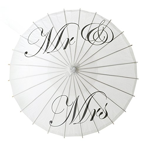 Aspire Mr & Mrs White Paper Parasol Wedding Umbrella Party Decoration Bridal Showers Photo Shoots