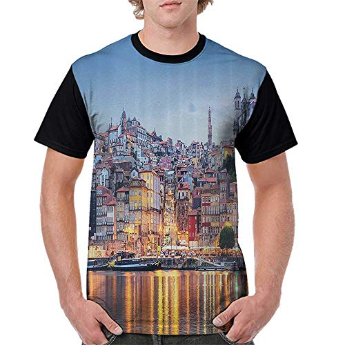 (Printed Causal Tops Blouse,European Cityscape Decor Collection,Cityscape by The River in Porto Bright Lights Old Small Town Architecture Decor,Multi S-XXL Printed Tee Female Baseball Shirt)