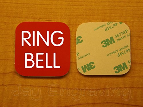 Engraved 2x2 RING BELL Self-Sticking Plate | Door Bell Name Tag Sign | Adhesive Back | Engraving Small Business Home Office Wall Door Plaque Doorbell Home Security Signs Sign Placard -