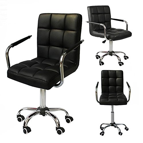 Yaheetech Modern PU Leather Midback Adjustable Executive Office Chair Swivel Stool Chair on Wheels, Black - Executive Bar