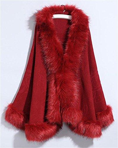 Fur oscuro Nupcial Floral Faux Blanco Mujeres Fox Capa del Color su¨¦ter del Capa FOLOBE rojo Chal Cabo 4wfqtCn